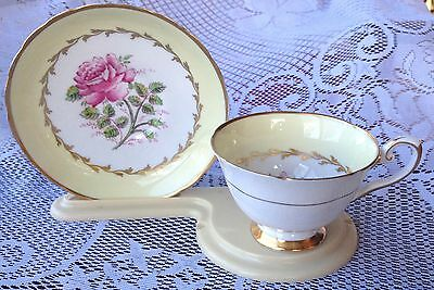 "Tuscan 'Dovedale F160"" Yellow/Gold with Pink Rose Tea cup & Saucer (227)"