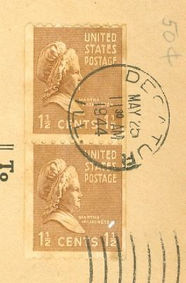 USA Prexie Prexy 1 1/2c Vertical COIL Pair used on cover 1944
