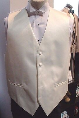 "Men's Cardi Collection ""Ivory"" Solid Satin Formal Tuxedo Vest"