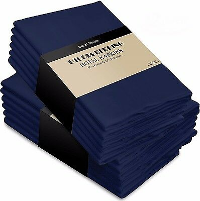 Cotton Dinner Napkins Navy Blue - 12 Pack 18 x18 inches Soft & Comfortable -