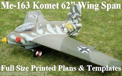 """Me-163 Komet 62"""" WS Giant Scale RC Airplane Full Size PRINTED Plans & Templates"""