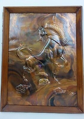 Vintage Embossed Copper Horse Stallion Wall Hanging Art