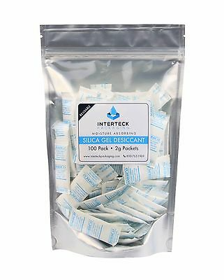 100 Pack of 2 Gram Silica Gel Rechargeable Tyvek Desiccant Packets