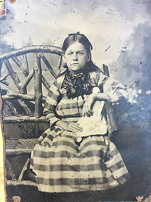 Antique Tintype Photo 1800s Civil War era Victorian Lovely Girl Porcelain Doll