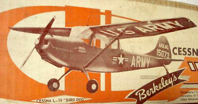 "Vintage L-19 BIRD DOG Rare 61"" RC Berkeley/Fox Model Airplane Kit PLAN + Data"