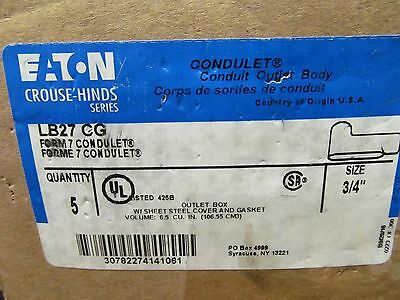 """5 EATON CROUSE HINDS SERIES LB27 CG FORM 7 Conduit Body w/Cover & Gasket 3/4"""""""