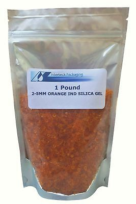 1 Pound of 2-5 mm Orange Beaded Indicating Silica Gel - Rechargeable