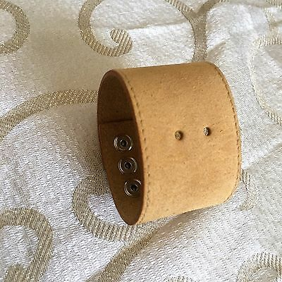 Moccasin Brown Suede Leather Wristband- Wide Cuff Bracelet-Design-Adjustable-New