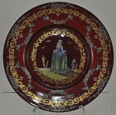 Antique Free Blown Enameled Ruby Glass Cabinet Plate