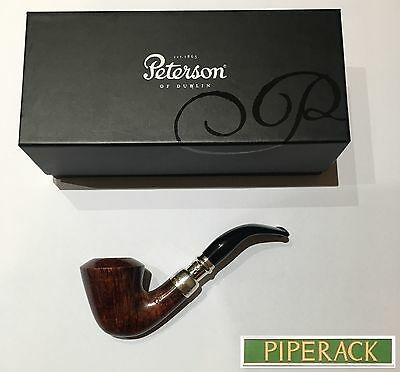 NEW Peterson Walnut Spigot Sterling Silver Bent Pipe Shape B10 with 9mm Filter