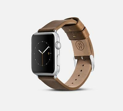Monowear Brown Leather Band with Matte Silver Adapter for 42mm Apple Watch