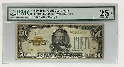 1928 $50 Gold Certificate !!! PMG VERY FINE VF 25 !!! FR# 2404 ~ Woods / Mellon