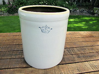 Robinson Ransbottom  Blue Crown Stoneware Glazed 5 Gal Crock