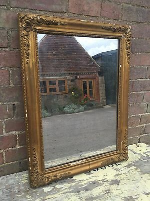 Antique French Mirror Ornate Frame Gilt , Foxed Glass