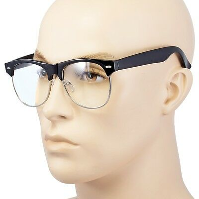 NEW Vintage Retro Half Frame CLEAR LENS GLASSES Black Silver Color