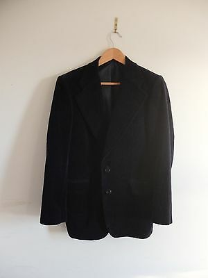 Navy blue velvet blazer jacket | Men's 38-40 | S | vintage retro
