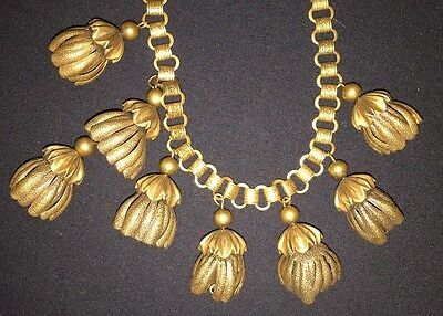 Art Nouveau Brass And Book Chain Flowering Buds Dangle Necklace ON SALE!!!