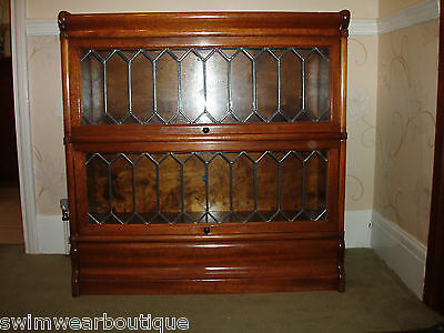 Globe Wernicke Mahogany 2 Tier Barristers Bookcase Leaded Glass good colour VGC