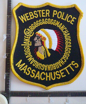 Webster MA POLICE PATCH MASSACHUSETTS Town Seal Indian COLOR