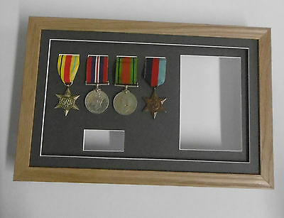 """Medal Frame- REAL WOOD- Displays 4 medals + title box + photo aperture 6x4"""""""