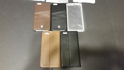Lot of 4 Apple Iphone 6s 6s plus cases leather black brown pocket fold close