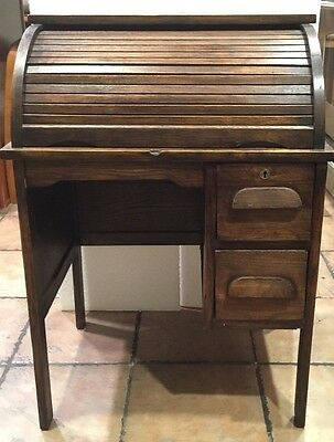 Childs Roll Top Wood Desk Vintage Role Play Organization