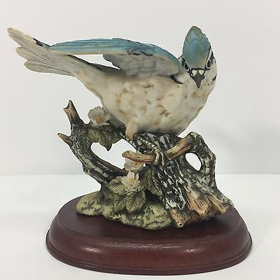 Vintage Homco Porcelain Blue Jay Bird Figure Signed Collectible Rare Handpainted