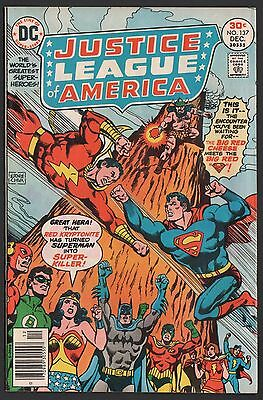 Justice League of America #137 F- 5.5 Off White Pages Superman vs Captain Marvel