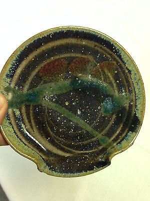 Vintage Spoon Rest Art Pottery Hand Made SIGNED Earth Tone Colors  Excellent