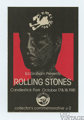 The Rolling Stones 1981 Oct 17 Candlestick Park Collector's Commemorative Card
