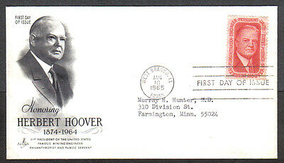 Us Fdc 1965 Herbert Hoover 5C Stamp Ac First Day Of Issue Cover West Branch Ia