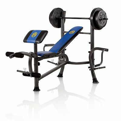 Marcy Home Gym Body Fitness Standard Bench 80-Pound Weight Workout Exercise Set
