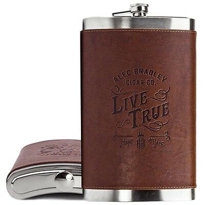 "Alec Bradley ""LIVE TRUE"" 64 Ounce Half Gallon Leather & Stainless Pocket Flask"