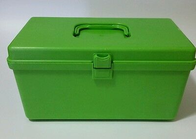 Vintage Wilson Wil Hold Green Plastic Sew Sewing Box W/ Tray Insert