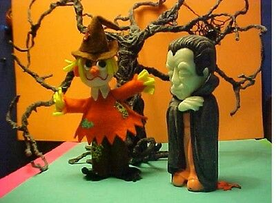 halloween Dracula and Scarecrow figures