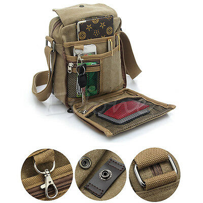 Men's Canvas Leather Messenger Bag Shoulder Bag Military Satchel School Vintage
