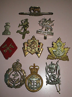 WWII BRITISH & CANADIAN MILITARY FORCES BADGE INSIGNIA LOT OF 10 Jr GAUNT