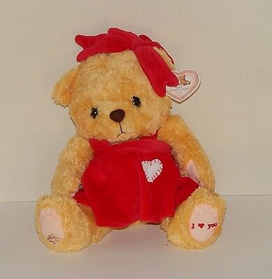 Cherished Teddies Collectible Plush Bear VAL Red Dress wth Bow - NWT