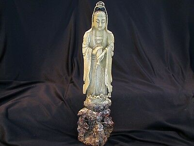 """LARGE OLD Antique CHINESE SOAPSTONE CARVING - WOMAN - GODDESS - 16 1/2"""""""