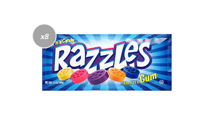 903156 24 x 40g PACKETS OF SOUR RAZZLES - FIRST IT'S CANDY... THEN IT'S GUM!