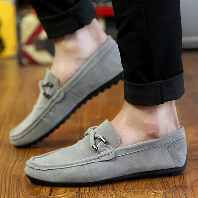 Slip On PU Leather Sneakers Mens Driving Loafers Solid Casual Comfort Shoes
