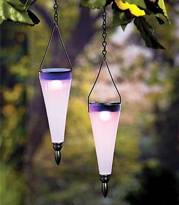 Set of 2 Color Changing Solar Lighted Lanterns Outdoor Yard Garden Patio Decor