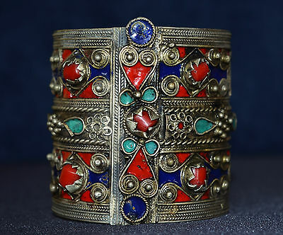 Superb  Old Large Tribal Silver Coral, Enamel Khabile Berber  Bracelet Hand Made