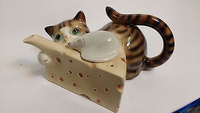 Cat Mouse Cheese Teapot GLAZED Coopercraft England BUMMERBANK POTTERY Vintage