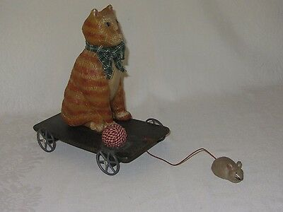 Vintage Cat & Mouse Pull Toy Wood Wagon Metal Wheels
