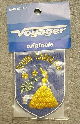 SOUTH CAROLINA SOUTHERN BELLE Embroidered Sew on Patch • Vintage