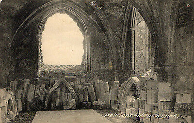 MELLIFONT ABBEY CO LOUTH IRELAND IRISH POSTCARD by LAWRENCE (Note has pin holes)