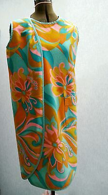 Vintage 60's Sun cover up, Mod era, Bold Floral, Plush Soft Terry
