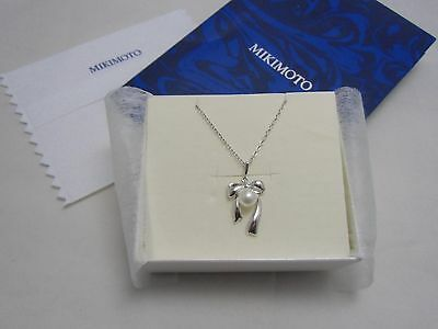 Mikimoto Akoya 6.5MM Pearl Silver Pendant Ribbon Bow Motif PRETTY!  Authentic!