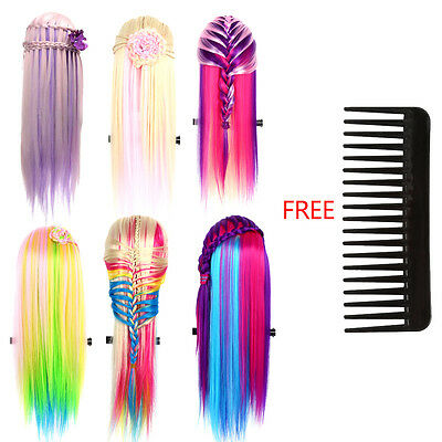 6 Colors Beauty Colorful Hair Practice Braiding Mannequin Doll Model Head Tools